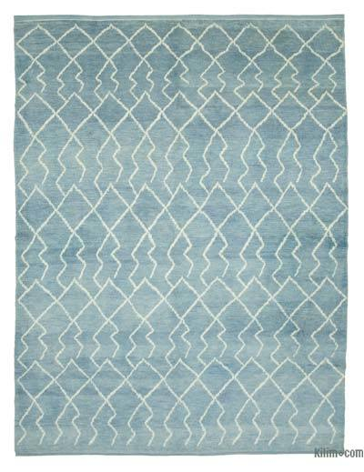 "Blue New Contemporary Hand-Knotted Wool Area Rug - 7' 11"" x 10' 8"" (95 in. x 128 in.)"