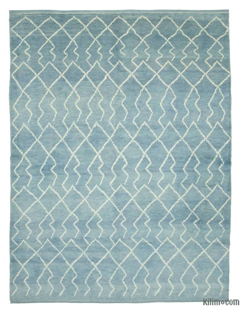 """Blue Moroccan Style Hand-Knotted Tulu Rug - 7' 11"""" x 10' 8"""" (95 in. x 128 in.) - K0039248"""