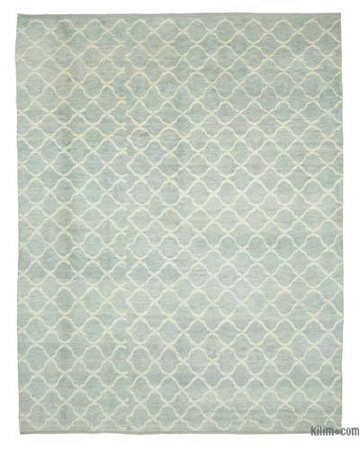 """Blue Moroccan Style Hand-Knotted Tulu Rug - 9' 1"""" x 11' 8"""" (109 in. x 140 in.)"""