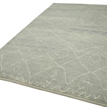 """Grey Moroccan Style Hand-Knotted Tulu Rug - 7' 4"""" x 11' 10"""" (88 in. x 142 in.) - K0039250"""