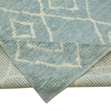 """Blue Moroccan Style Hand-Knotted Tulu Rug - 9' 9"""" x 12' 4"""" (117 in. x 148 in.) - K0039255"""