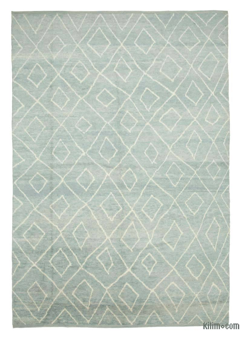 """Blue Moroccan Style Hand-Knotted Tulu Rug - 9' 2"""" x 13' 1"""" (110 in. x 157 in.) - K0039258"""