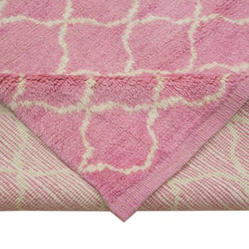 """Pink New Contemporary Hand-Knotted Wool Area Rug - 9' 7"""" x 11' 4"""" (115 in. x 136 in.) - K0039259"""