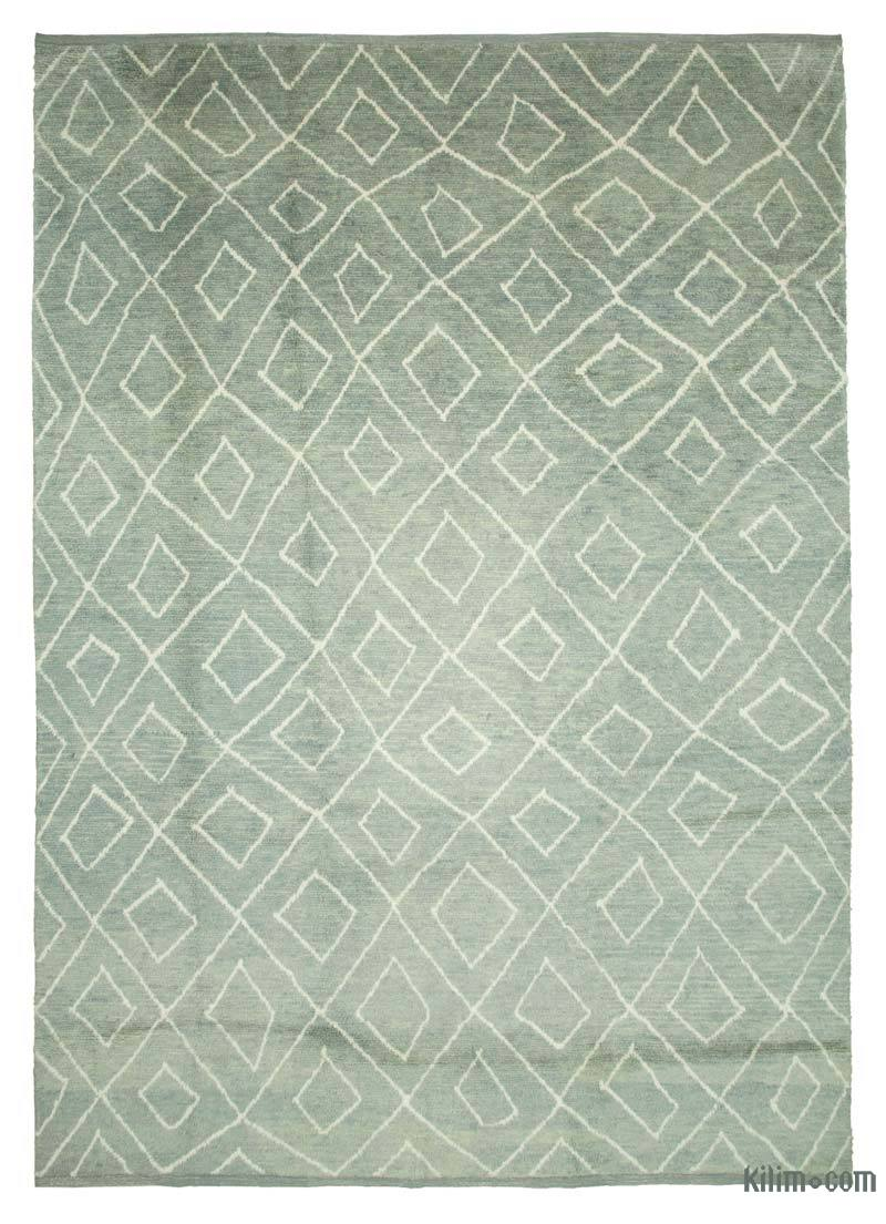 """Grey New Contemporary Hand-Knotted Wool Area Rug - 9' 11"""" x 13' 9"""" (119 in. x 165 in.) - K0039260"""