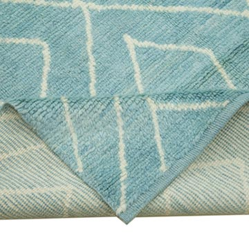 """Blue New Contemporary Hand-Knotted Wool Area Rug - 9' 9"""" x 14' 3"""" (117 in. x 171 in.) - K0039261"""