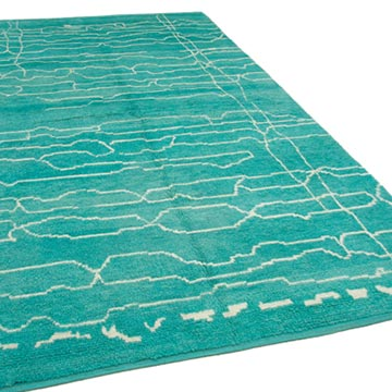 """New Contemporary Hand-Knotted Wool Area Rug - 6' 7"""" x 11'  (79 in. x 132 in.) - K0039265"""