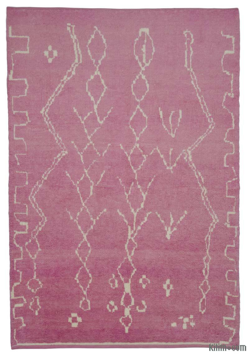 Pink New Contemporary Hand-Knotted Wool Area Rug - K0039268