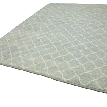 """Blue New Contemporary Hand-Knotted Wool Area Rug - 8' 11"""" x 11' 6"""" (107 in. x 138 in.) - K0039269"""
