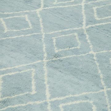 """Blue New Contemporary Hand-Knotted Wool Area Rug - 9'  x 13' 7"""" (108 in. x 163 in.) - K0039270"""
