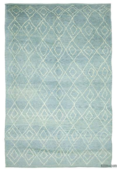 "Blue New Contemporary Hand-Knotted Wool Area Rug - 9'  x 13' 7"" (108 in. x 163 in.)"