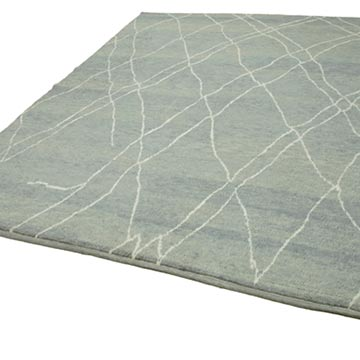 """Grey New Contemporary Hand-Knotted Wool Area Rug - 7' 10"""" x 9' 8"""" (94 in. x 116 in.) - K0039272"""