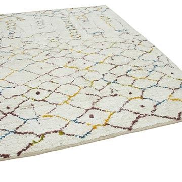 """Multicolor New Contemporary Hand-Knotted Wool Area Rug - 7' 5"""" x 9' 7"""" (89 in. x 115 in.) - K0039273"""