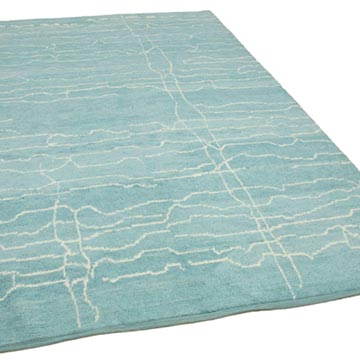 """Blue New Contemporary Hand-Knotted Wool Area Rug - 6' 5"""" x 9' 6"""" (77 in. x 114 in.) - K0039275"""