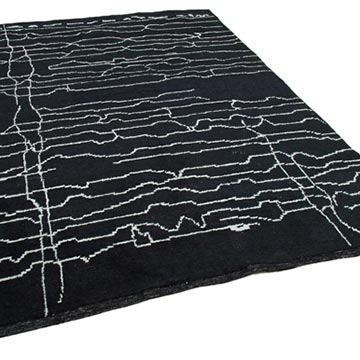 """Black New Contemporary Hand-Knotted Wool Area Rug - 7' 1"""" x 9' 8"""" (85 in. x 116 in.) - K0039281"""