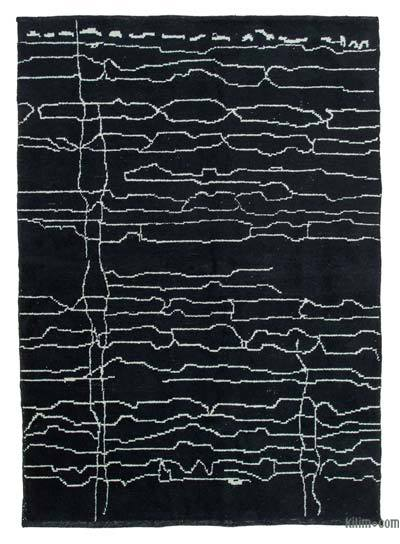 """Black New Contemporary Hand-Knotted Wool Area Rug - 7' 1"""" x 9' 8"""" (85 in. x 116 in.)"""
