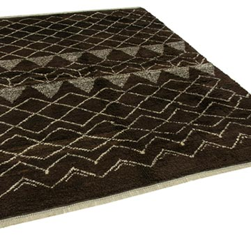 """Brown New Contemporary Hand-Knotted Wool Area Rug - 7' 1"""" x 8' 11"""" (85 in. x 107 in.) - K0039286"""