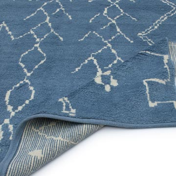 Blue New Contemporary Hand-Knotted Wool Area Rug - K0039288