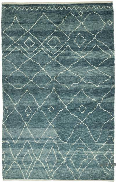 """Blue New Contemporary Hand-Knotted Wool Area Rug - 6' 5"""" x 10' 1"""" (77 in. x 121 in.)"""