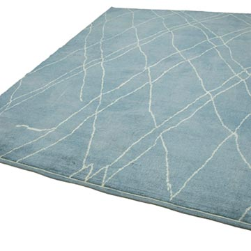 """Blue Moroccan Style Hand-Knotted Tulu Rug - 7' 10"""" x 9' 11"""" (94 in. x 119 in.) - K0039290"""