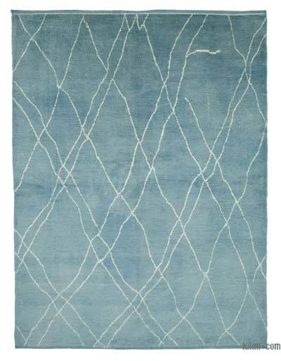 "Blue New Contemporary Hand-Knotted Wool Area Rug - 7' 10"" x 9' 11"" (94 in. x 119 in.)"