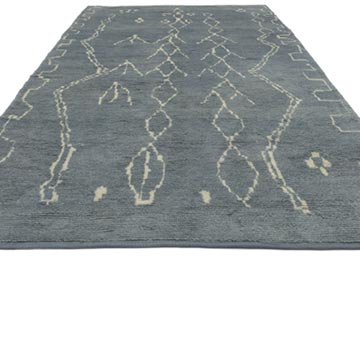 """Blue New Contemporary Hand-Knotted Wool Area Rug - 6' 3"""" x 10' 9"""" (75 in. x 129 in.) - K0039291"""