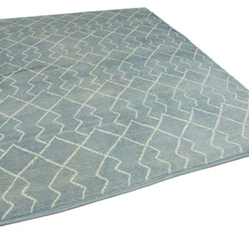 """Blue New Contemporary Hand-Knotted Wool Area Rug - 7' 9"""" x 9' 7"""" (93 in. x 115 in.) - K0039293"""