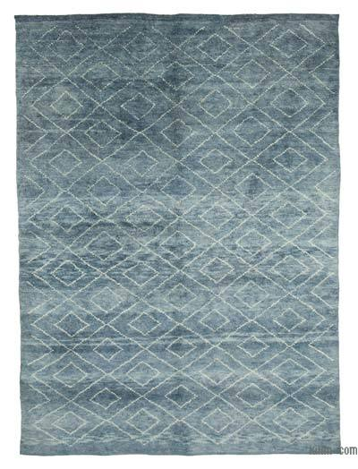 """Blue New Contemporary Hand-Knotted Wool Area Rug - 7' 8"""" x 10' 3"""" (92 in. x 123 in.)"""