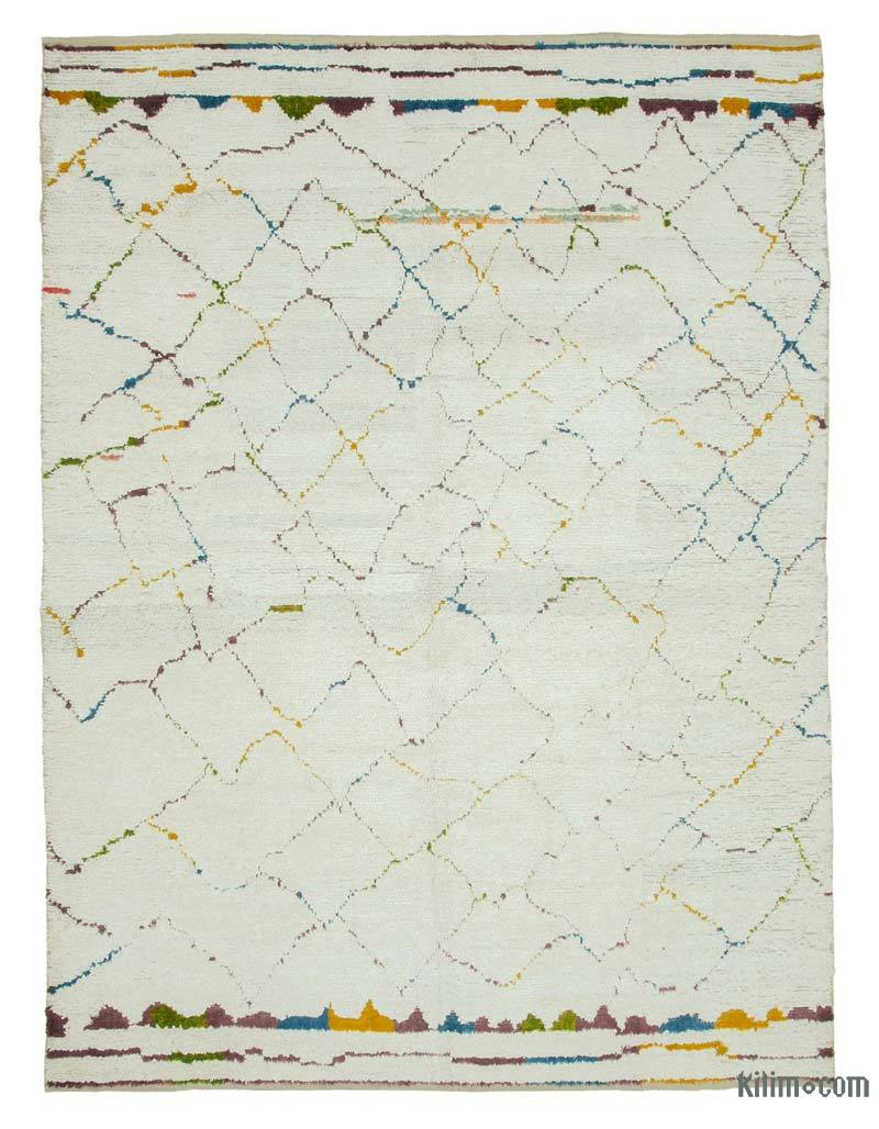 """Multicolor New Contemporary Hand-Knotted Wool Area Rug - 8' 3"""" x 11' 4"""" (99 in. x 136 in.) - K0039299"""
