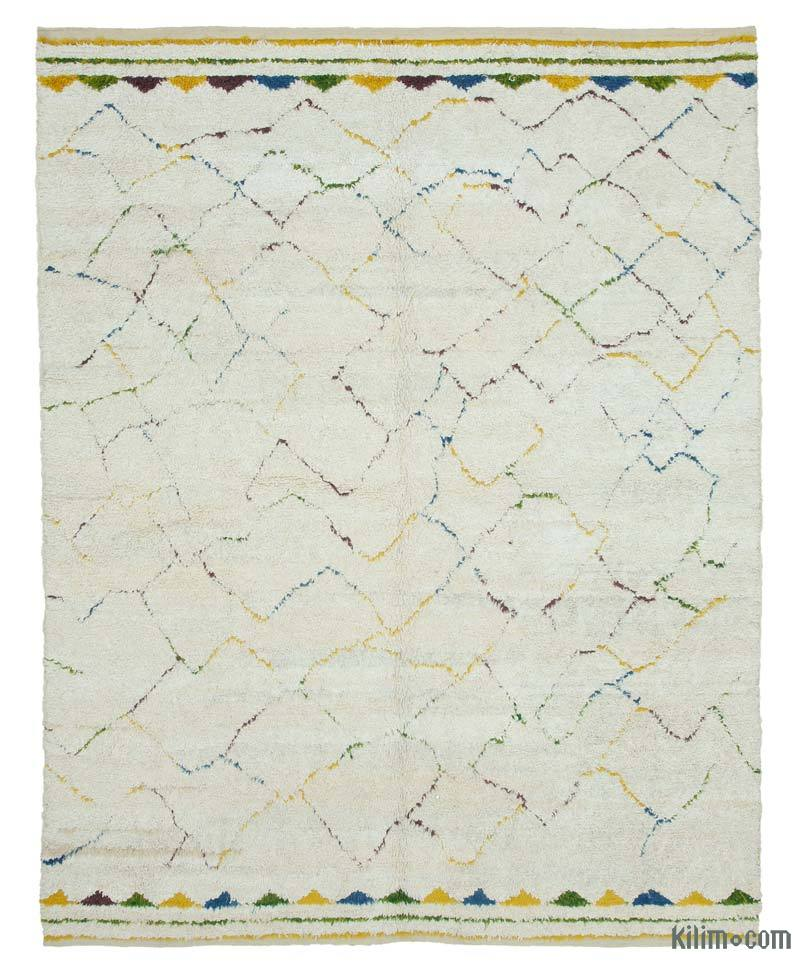 """Multicolor Moroccan Style Hand-Knotted Tulu Rug - 7' 6"""" x 9' 2"""" (90 in. x 110 in.) - K0039304"""