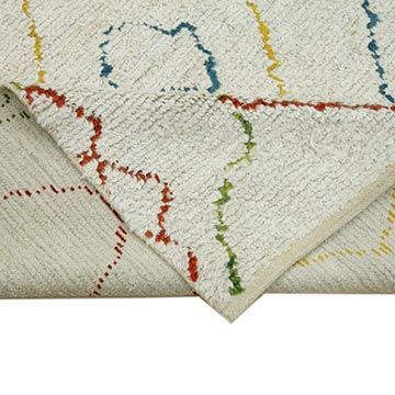 """Multicolor New Contemporary Hand-Knotted Wool Area Rug - 7' 10"""" x 10'  (94 in. x 120 in.) - K0039305"""