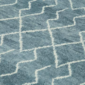 """Blue New Contemporary Hand-Knotted Wool Area Rug - 7' 4"""" x 9' 11"""" (88 in. x 119 in.) - K0039306"""