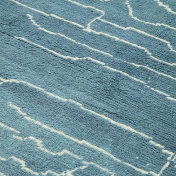 """Blue New Contemporary Hand-Knotted Wool Area Rug - 6' 3"""" x 9'  (75 in. x 108 in.) - K0039308"""