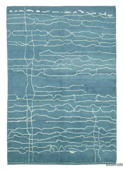 "Blue New Contemporary Hand-Knotted Wool Area Rug - 6' 3"" x 9'  (75 in. x 108 in.)"