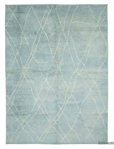 """Blue Moroccan Style Hand-Knotted Tulu Rug - 8' 11"""" x 12' 2"""" (107 in. x 146 in.)"""