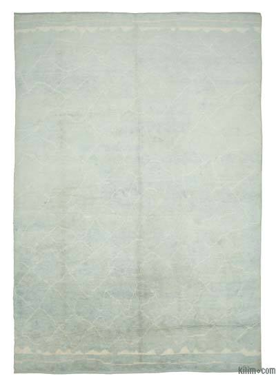 """Blue New Contemporary Hand-Knotted Wool Area Rug - 9' 11"""" x 13' 8"""" (119 in. x 164 in.)"""