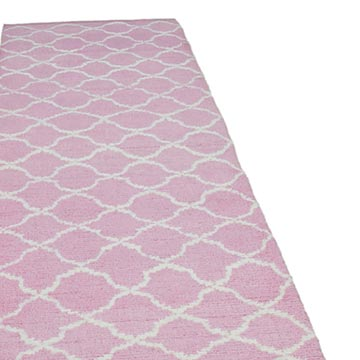 """Pink New Contemporary Hand-Knotted Wool Runner Rug - 3' 1"""" x 12'  (37 in. x 144 in.) - K0039314"""