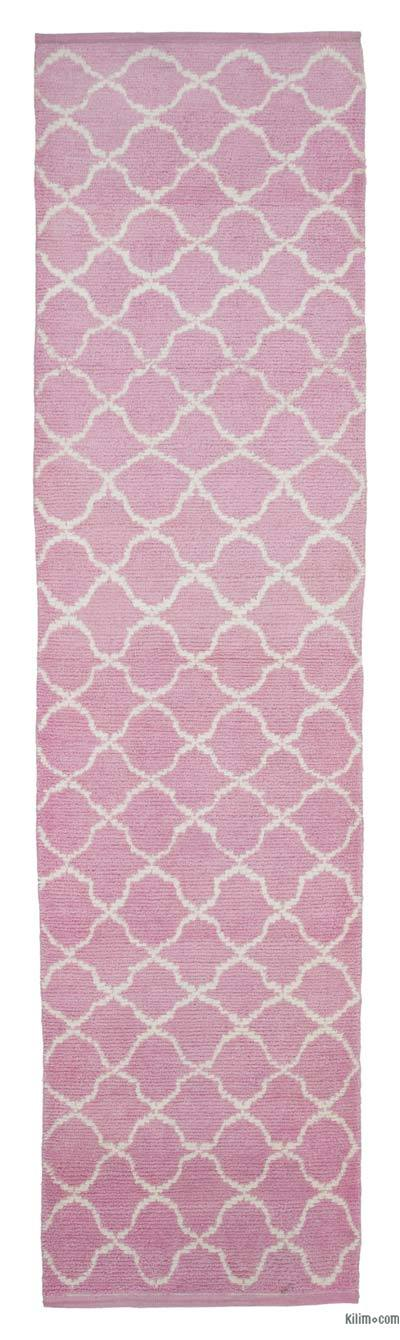 "Pink New Contemporary Hand-Knotted Wool Runner Rug - 3' 1"" x 12'  (37 in. x 144 in.)"