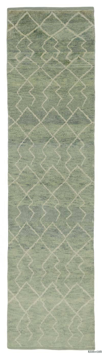 "New Contemporary Hand-Knotted Wool Runner Rug - 3'1"" x 12' (37 in. x 144 in.)"
