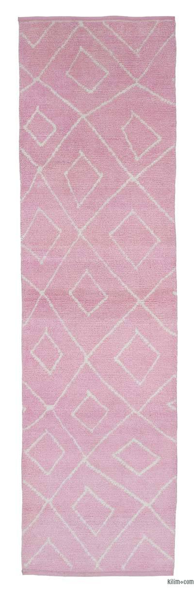 "New Contemporary Hand-Knotted Wool Runner Rug - 2' 11"" x 9' 10"" (35 in. x 118 in.)"