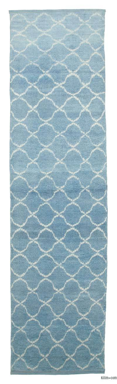 "Blue New Contemporary Hand-Knotted Wool Runner Rug - 3' 1"" x 11' 10"" (37 in. x 142 in.)"