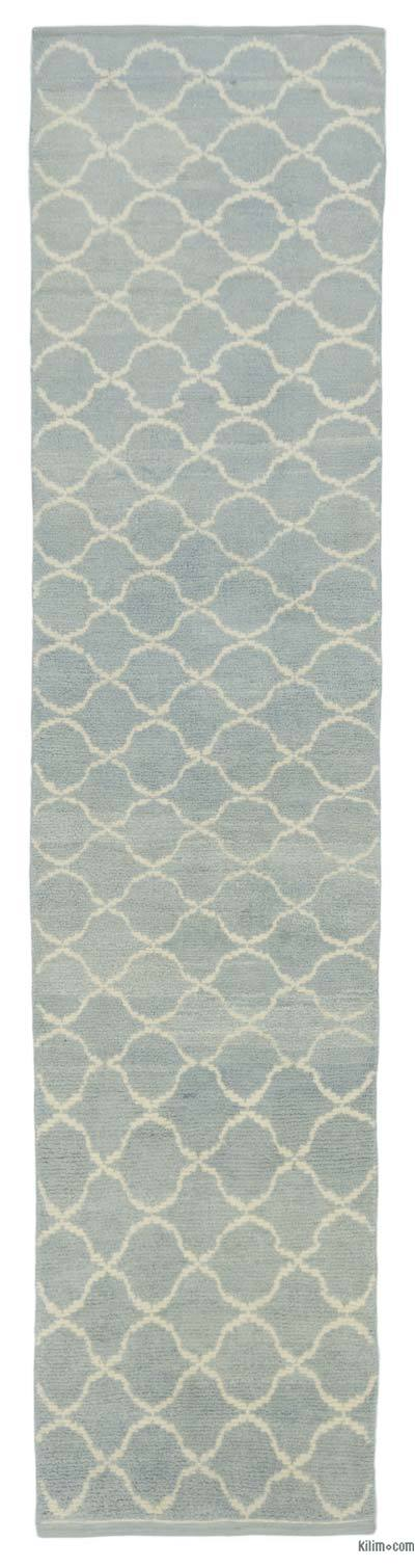 "Green New Contemporary Hand-Knotted Wool Runner Rug - 2' 11"" x 12' 6"" (35 in. x 150 in.)"