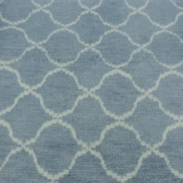 """Blue New Contemporary Hand-Knotted Wool Runner Rug - 3' 1"""" x 12' 4"""" (37 in. x 148 in.) - K0039322"""