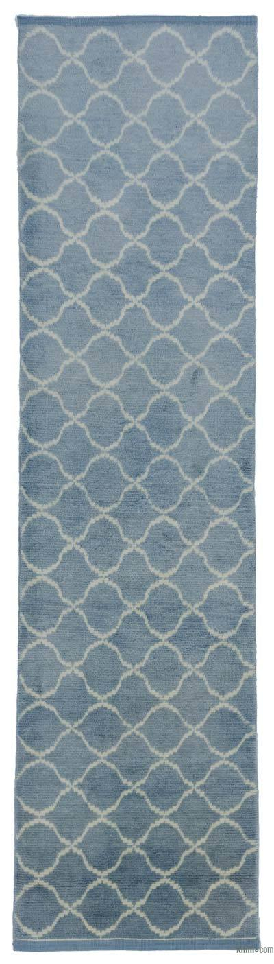 """Blue New Contemporary Hand-Knotted Wool Runner Rug - 3' 1"""" x 12' 4"""" (37 in. x 148 in.)"""