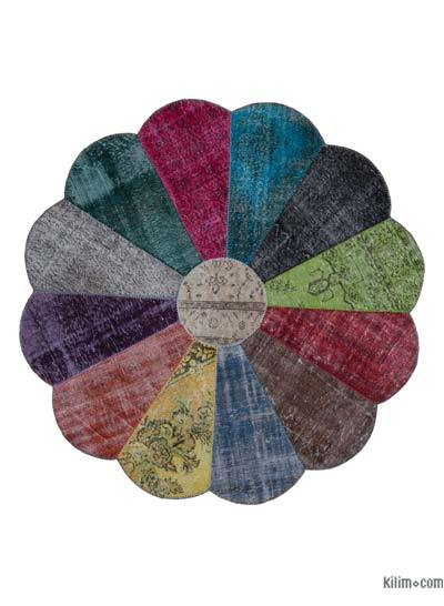 "Round Over-dyed Turkish Patchwork Rug - 6'8"" x 6'8"" (80 in. x 80 in.)"