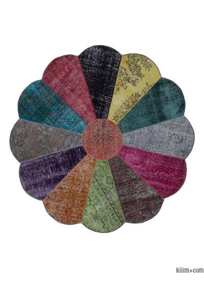 "Round Over-dyed Turkish Patchwork Rug - 6' 8"" x 6' 8"" (80 in. x 80 in.)"
