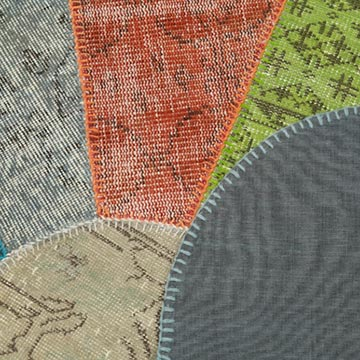 """Multicolor Round Patchwork Hand-Knotted Turkish Rug - 6' 8"""" x 6' 8"""" (80 in. x 80 in.) - K0039402"""