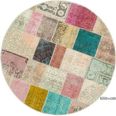 "Round Over-dyed Turkish Patchwork Rug - 6'3"" x 6'3"" (75 in. x 75 in.)"
