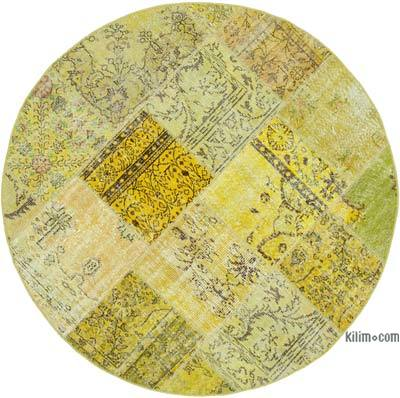 "Round Over-dyed Turkish Patchwork Rug - 6' 5"" x 6' 5"" (77 in. x 77 in.)"