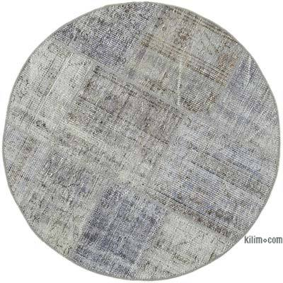 "Round Over-dyed Turkish Patchwork Rug - 3' 9"" x 3' 9"" (45 in. x 45 in.)"