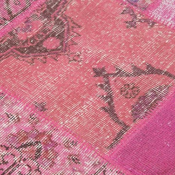"""Pink Round Patchwork Hand-Knotted Turkish Rug - 4' 10"""" x 4' 10"""" (58 in. x 58 in.) - K0039414"""